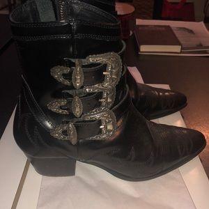 Kooples Black leather buckle booties